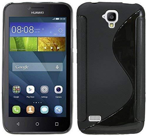 Silikon Hülle S-Line kompatibel mit Huawei Y560 Tasche Case Zubehör Schale in Schwarz