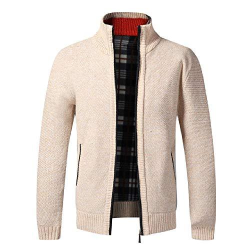 N\P Jersey para hombre otoño e invierno, chaqueta de punto, abrigos para hombre, grueso forro polar, suéter para el tiempo libre beige L