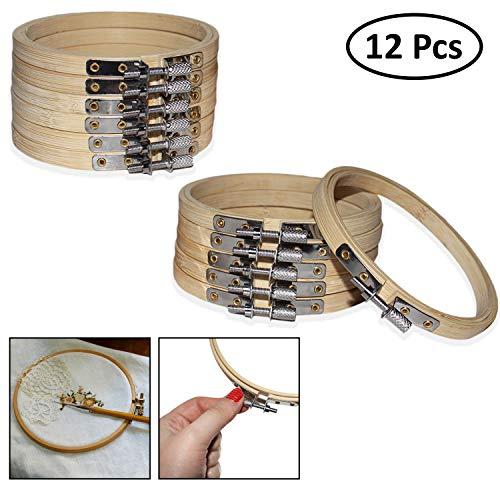 Set da 12 Telai in Legno bambù Ricamo Cucito - 10cm Telai Legno Punto Croce Set Regolabili in Legno Piccoli Telai Circolari in bambù per Cucito a Mano, Decorazione e Progetti Fai da Te