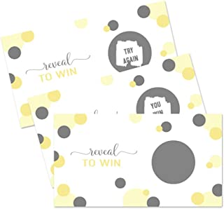 Yellow and Grey Scratch Off Game Cards (30 Pack) Baby Shower Birthday Raffles