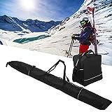 LIKJ Bolso para Botas de esquí, Bolso Negro para Botas de esquí de Longitud Ajustable para aeropuertos para Aventuras de esquí al Aire Libre para automóviles