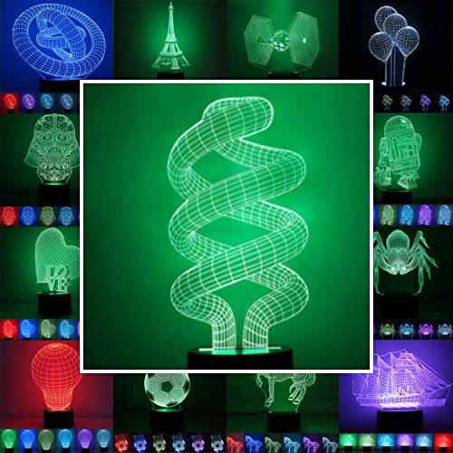 3D Lampe 3D Leuchte 3D LED Stimmungslicht. 7 Farben - Auswahl aus 81 verschiedenen Motiven,hier Wendel ca.23x11cm inkl.Sockel - 3D Illusion Dekolicht mit USB Anschluß und 220V USB Netzteil