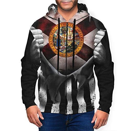 BODY Florida Flag Pull Apart Herren Kapuzenpullover 3D Bedruckt Full Zip Langarm Hoodies Cool Jacket Sweatshirts mit großen Taschen Gr. XXXL, Schwarz