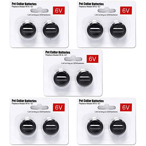 Ruzixt 6V Pet Collar Batteries Compatible with PetSafe RFA-67 6 Volt Replacement Battery (10 Pack)