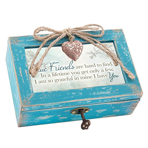 True Friends Grateful Teal Wood Locket Music Box
