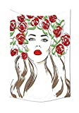 daawqee Fashion House Hand Drawn Lady with Roses on Hair Floral Ornamentals Natural...