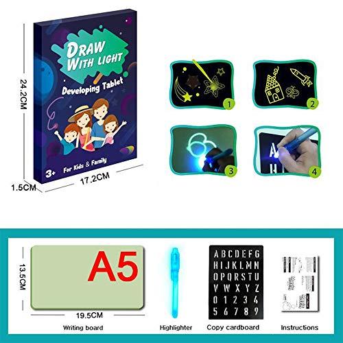 Yongyu Chenzinan Dessin Fluorescent écriture Tablette 3D Convient aux Enfants et Adultes dans Accueil école et au Bureau ( Color : Blue English Version Small A5 )