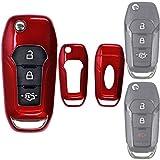 Klapp Schlüssel Hülle Hartschale Cover Rot für Ford