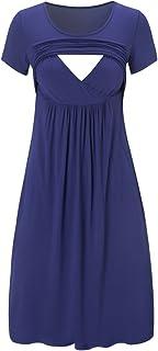Jezero Women's Short Sleeve Maternity Breastfeeding and Nursing Dress