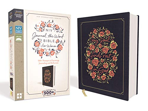 NIV, Journal the Word Bible for Women, Cloth over Board, Navy, Red Letter, Comfort Print: 500+ Prompts to Encourage Journaling and Reflection