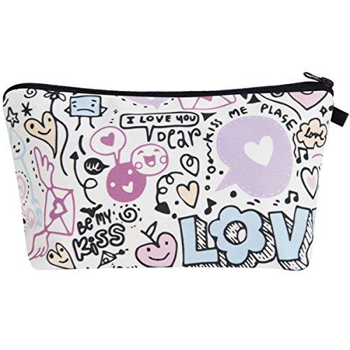 PREMYO Kosmetiktasche Klein für Handtasche - Schminktasche Damen Make Up Tasche - Federmappe Mädchen Etui Love Doodle