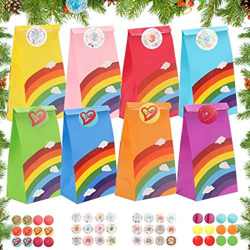ASANMU Papier Geschenktüten, 50 Stück Regenbogen Partytüten Candy Tüten Bunt Papiertasche mit Aufkleber Süssigkeiten Beutel für Geburtstagsparty Hochzeit Babyparty Weihnachten Ostern (Rainbow Color)