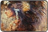 Felsiago Mujer India con Tocado de Plumas con Felpudo de león Alfombrilla Alfombrilla para Interior/Exterior/Puerta Delantera/Alfombrillas de baño Antideslizantes 23.6x15.7 Pulgadas