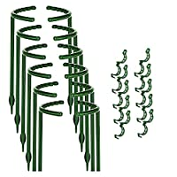 PQZATX 植物サポート、12個、植物ステークハーフラウンドリング、植物ケージホルダー、フラワーポットクライミングトレリス、10個、植物クリップ付き