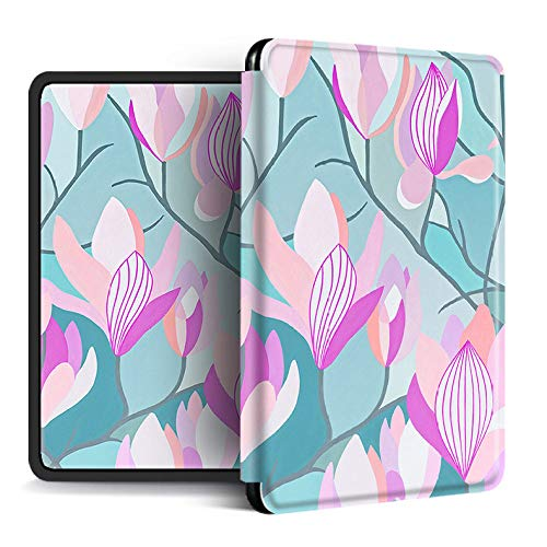 Funda para Kindle Paperwhite,Compatible con Kindle Paperwhite 4 Funda Trasera para Kindel Paperwhite 2019 Auto Sleep/Wake Smart Cover Ramas De Flores Simples Impresas, para No.Pq94Wif
