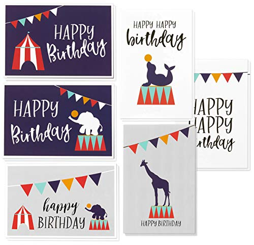 Circus Theme Carnival Birthday Card Bulk Box Set with Envelopes (48 Pack, 4 x 6 in)