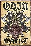 Blechschild Cartel de Chapa Odin wacht Germanen Vikingo 20 x 30 cm con Texto...
