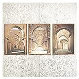 OKOEEE Beige Bohemian Print Gallery Marruecos Door Wall Set Boho Art Print Wallposters Impresiones Pinturas de Lienzo Sala de Estar Decoración de la casa 20x28x3 Inch Sin Marco