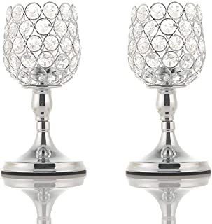 VINCIGANT 2 PCS Silver Glass Modern Lantern/Pillar Candle Holders for Anniversary Celebration Gifts,8 Inches Tall