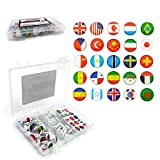 9SWALL Decorative Flag thumbtacks for World Map Cork Board,50PCS Button Flag Push Pins Made of White Plastic DIY with 25 National Flag Patterns Sticker (National Flag)