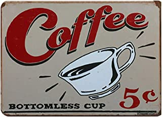 SKYNINE INC Vintage Coffee Tin Sign for Cafe Wall Decoration with 'Coffee Sign', 20