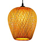 OSALADI Bamboo Lamp Retro Japanese Style Rattan Pendant Lights Hanging Lamp for Home Living Room Dinning Room Store, with Light Bulb