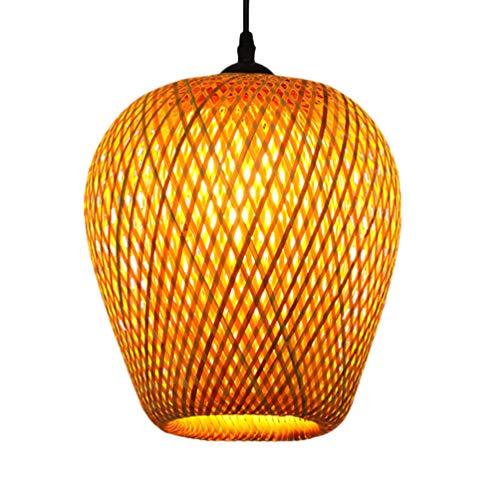 FRCOLOR - Farol colgante de bambú con lámpara de mimbre tejida para techo, iluminación colgante de estilo sudoriental, asiático para salón, dormitorio, café, salón de té