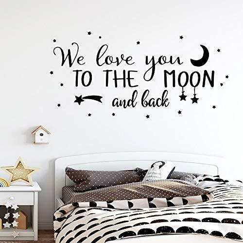 yaonuli Cartoon Liebe Dich zum Mond Satz Wandaufkleber Wandbild für Kinderzimmer Schlafzimmer Aufkleber love45X91cm