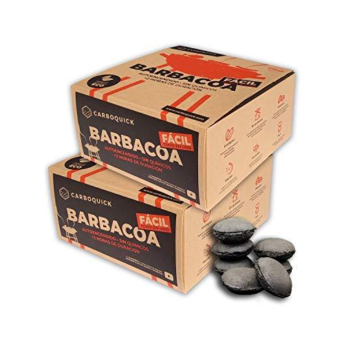 Briquetas de Carbón Vegetal para Barbacoa Ecológico y 100% Natural | Autoencendido Instantáneo sin Papel, Madera, Pastillas, Leña u otros Encendedores convencionales | Fácil, Limpio y Cómodo de Usar