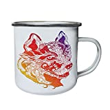 Hermoso diseño geométrico de cabeza de lobo de color Retro, lata, taza del esmalte 10oz/280ml...