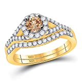 Anillo de compromiso de oro amarillo de 14 quilates con diamante...