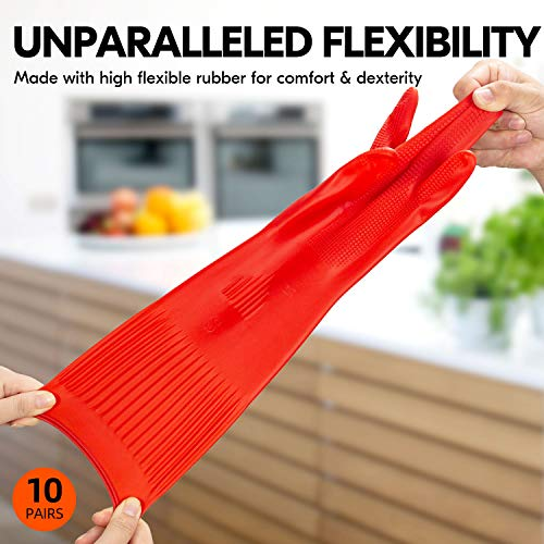 Product Image 3: Vgo 10-Pairs Dishwashing Gloves, Reusable Household Gloves, Kitchen Gloves, Long Sleeve, Thick Latex, Cleaning, Washing, Working, Painting, Gardening, Pet Care (Size L, Red, RB2143)