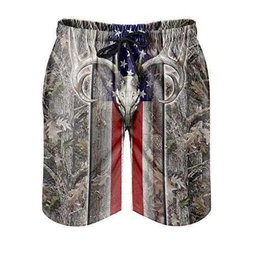 Dessionop Pantalones cortos de playa para hombre, diseño de bandera americana, bosque...