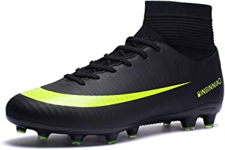 CR Indoor Soccer Shoes High Top for Boys - Messi Ankle Boots - High Elastic Collar AG Training - Football Shoes TF Turf Long Studs High Traction Black