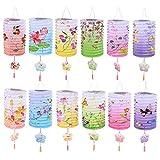 12 linternas de papel chino, faroles de papel chino, para colgar en el techo, decoración colorida para cumpleaños, bodas y fiestas
