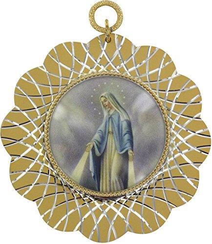 Ferrari & Arrighetti Medalla de Cuna Virgen de los Milagros en Aluminio Dorado - Ø 7 cm (Paquete de 2 Piezas)