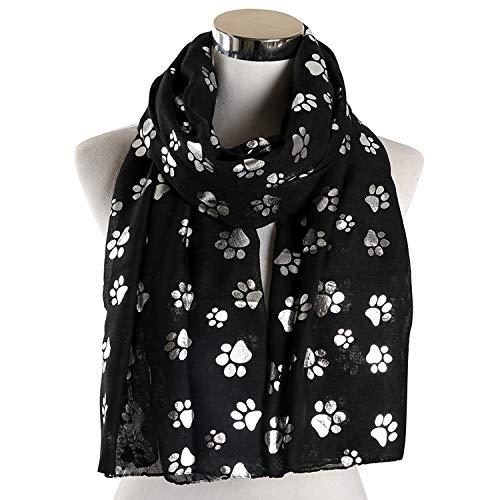 haoyushangmao Azul Gris Blanco Color de la Hoja de la Astilla de la Pata del Perro del Gato de la Bufanda de la redecilla Anillo Infinito de la Bufanda de Las señoras de (Color : Negro)