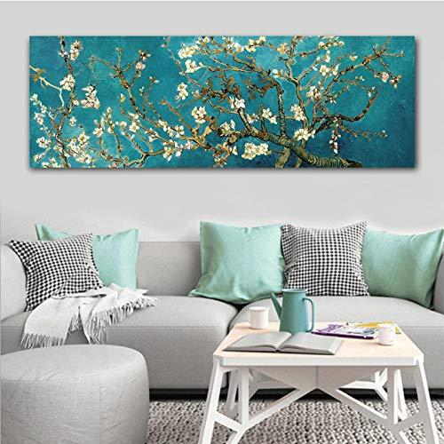 Rumlly Van Gogh Mandorlo in Fiore Fiori Riproduzioni di Quadri su TelaFamoso Dipinto Opere d'Arte Immagine di Arte della Parete Decorazione della Parete di casa 60x180 cm Senza Cornice