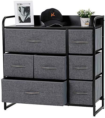 Kamiler - Mueble Organizador con 7 cajones para Dormitorio, Pasillo, Entrada, armarios, Estructura de Acero Resistente, Parte Superior de Madera, cestas de Tela extraíbles