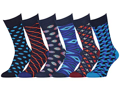 Easton Marlowe Mens Dress Socks - Fun Colorful Socks for Men - Cotton Patterned Fashion Mens Socks - Dark Navy Blue Teal Orange, 6 Pack #17 Size 10-13