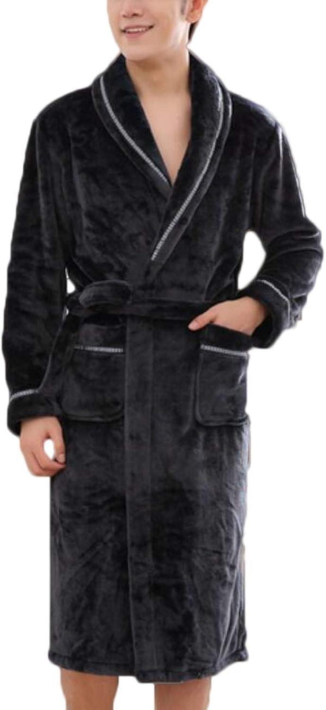 JBHURF Los Hombres de Alto Grado Coral Fleece Albornoz de algodón Ropa Casual Pijama Larga Chaqueta de Abrigo Negro (Color   Negro, Tamao   XL)