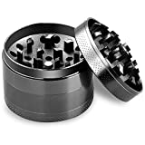 "LGNTXDC 2.5"" Spice Grinder with Sieve and Magnetic Lid, Large 4-Piece Premium Black"