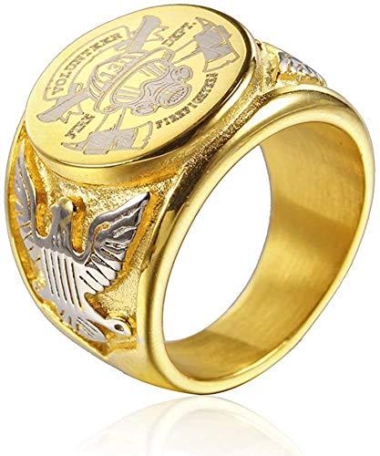 NA Anillo de Bombero Militar Estadounidense de Acero de Titanio de la Vendimia Anillos de Medalla de águila para Hombres, Plata/Oro/Negro