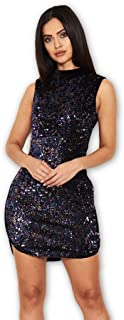 AX Paris Women's Velvet High Neck Dress with Sequin Front