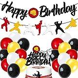 Karate Birthday Decorations Kit Taekwondo Happy Birthday Banner Karate Cake Topper Latex Balloons for Men Women Kids Boy Girl Bday Party Supplies Black Glitter Décor