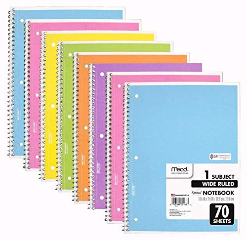 Mead Spiral Notebook, 8 Pack of 1-Subject Wide Ruled 70 Sheet Spiral Bound Notebooks, Pastel Colors, COLOR WILL VARY
