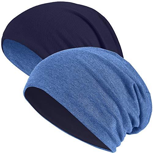 Hatstar 2in1 Reversible Damen Beanie   Damen und Herren Mütze   Wintermütze   weich & warm (2 in 1 Navy/Jeans)
