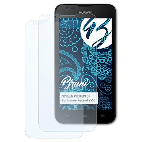 Bruni Schutzfolie kompatibel mit Huawei Ascend Y550 Folie, glasklare Bildschirmschutzfolie (2X)