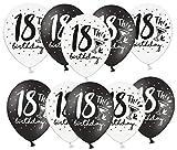 Libetui 10 Starke Luftballons 18 Jahre Luftballon Deko zum Geburtstag Party Dekoration 18th Birthday 30cm (Zahl 18 Schwarz Weiß)