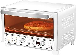 Mini horno de sobremesa de 16 L con calefacción de cuarzo y 8 menús preestablecidos antiadherentes, incluye bandeja para hornear y bandeja de escoria, 1200 W, color blanco